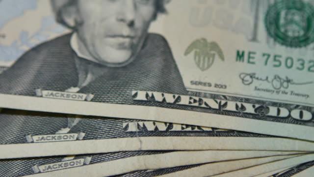 4K:Close up Dollar Bills Pan Camera video