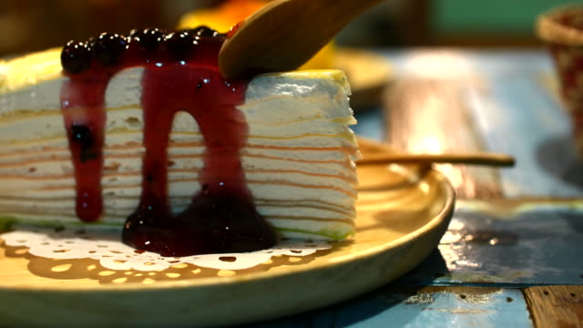 4K:Cutting blueberry Crepe Cake video