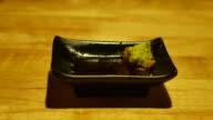 4K:Dolly Shot:eating salmon sashimi video