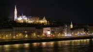 4K:Fisherman castle at night in Budapest east europe video