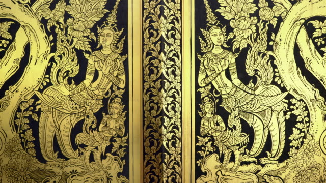4K-Kinnaree one of the loveliest half woman,half swan Traditional Thai Golden Paint Art on windows Travel Thailand video