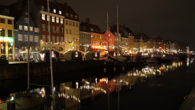 4K:Nyhavn in Copenhagen, Denmark at night time video