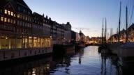4K:Nyhavn in Copenhagen, Denmark at night time video