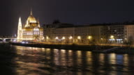 4K:Parliament Building Budapest Hungary and Danube river at night video