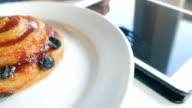 4K:Serving Chinnamon Croissants video