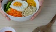 4K:Serving Korean Food bibimbap video