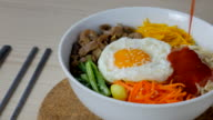 4K:Serving Korean Food with sauce video