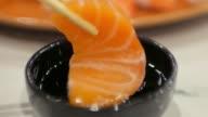 4K:Sushi Japanese food eating , UHD video