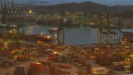 4K:Time lapse of commercial container port at night. video