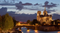 4K:Timelapse Notre Dame Cathedral at dusk in Paris, France video