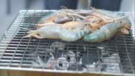 4K:Time-lapse of Grilling Shrimps video