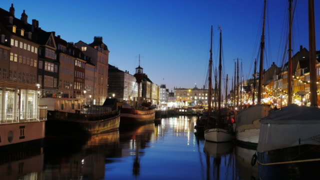 4K:Timelapse of Nyhavn in Copenhagen, Denmark at night time video