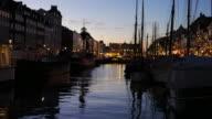 4K:Timelapse of Nyhavn in Copenhagen, Denmark at night time video