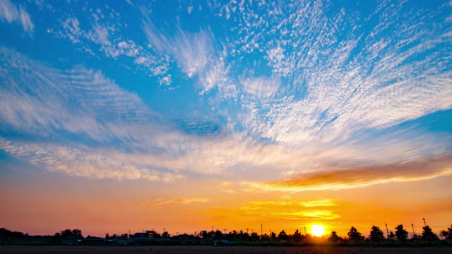 4K:Time-lapse of sunset with colourful sky and cloud video