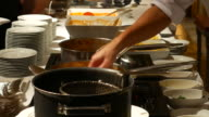 4K:Waiter serving Spaghetti video