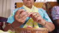 4-Senior Woman In Hospice Knitting Whool video