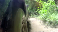 4x4 car pick-up rides through the mud in the forest video