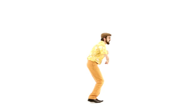 70s vintage dancing man white isolated 103bpm video HD video