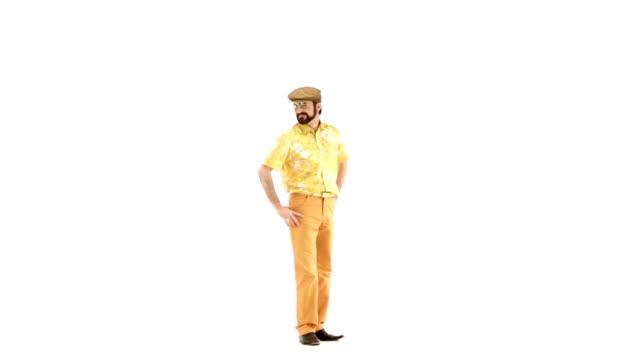 70s vintage seductive man isolated on white 103bpm video HD video