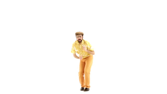 70s vintage twist dance man white isolated 103bpm video HD video