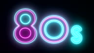 80s neon sign lights logo text glowing multicolor video