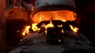 a basic oxygen furnace closeup video