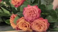 a florist manufactures a bouquet of roses video