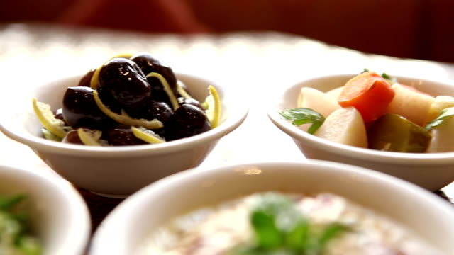 a table of jordanian mezze in petra video