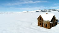 Abandon house in winter in Idaho video