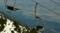 Abandoned cable way, off-season at skiing resort, tourism crisis video