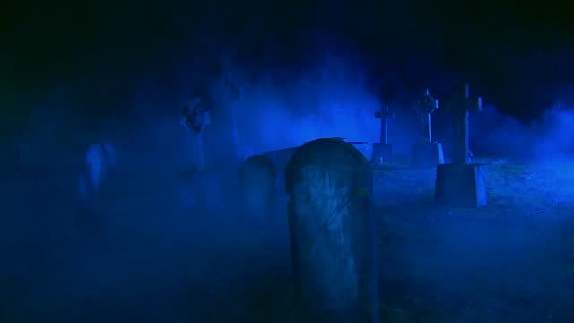 HD CRANE: Abandoned Cemetery Shrouded In Fog video