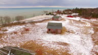 Abandoned cottages adorn a hilltop in Door County, Wisconsin video