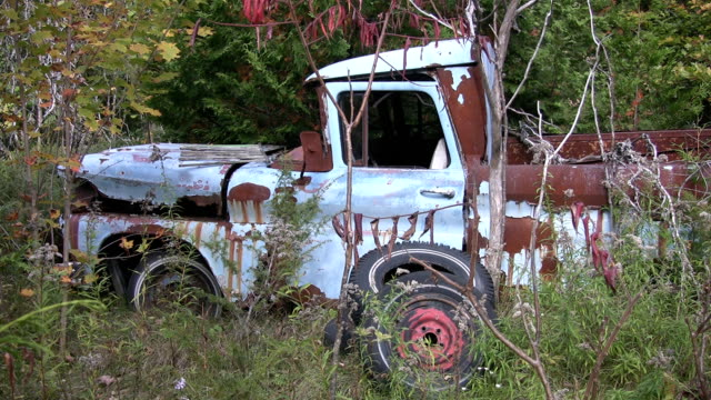 Abandoned pick-up truck. video