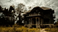 Abandoned spooky wooden house video