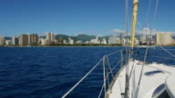 Aboard a yacht on the background of Honolulu video