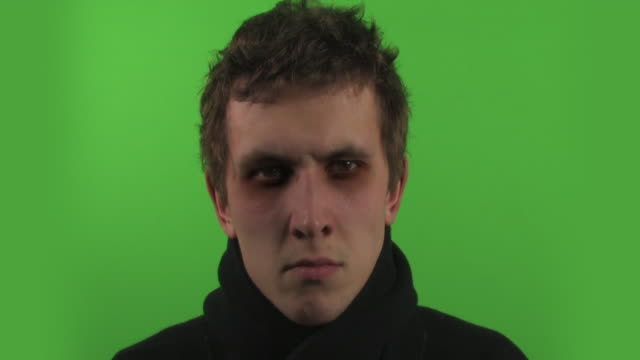 absolutly crazy guy filmed on greenscreen HD video