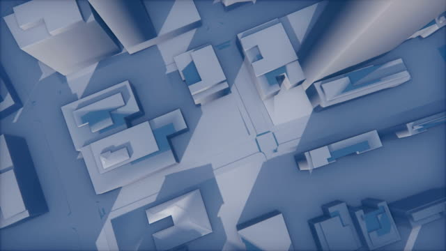Abstract 3D city fade in the haze video