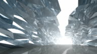 Abstract 3d motion background. Slow movement along bent crystal corridor with rugged walls and glowing end video