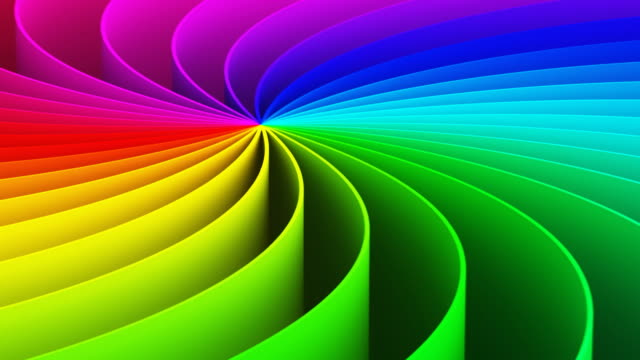Abstract 3D rainbow spiral background video