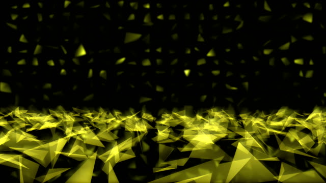 Abstract 3D yellow color triangle shinny as crystal backgrounds video