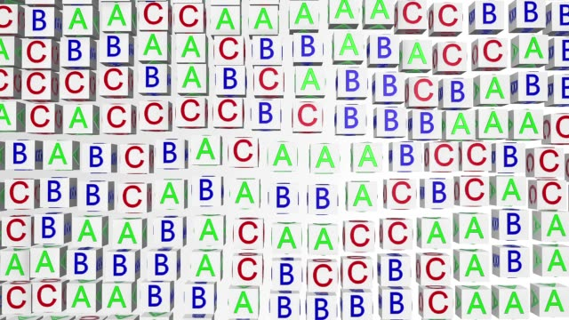 Abstract alphabet cubes on white video