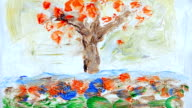 abstract animated oil paintings (seasons) video