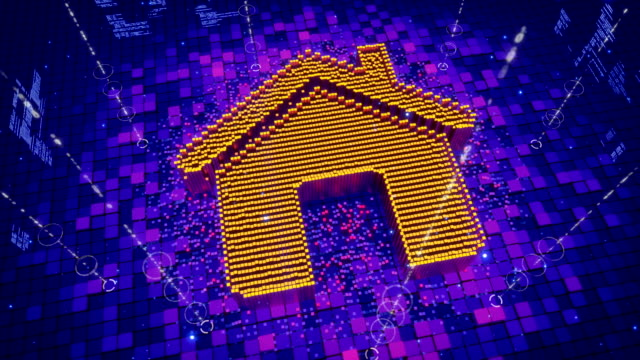 Abstract animation of pixels forming an icon of house video