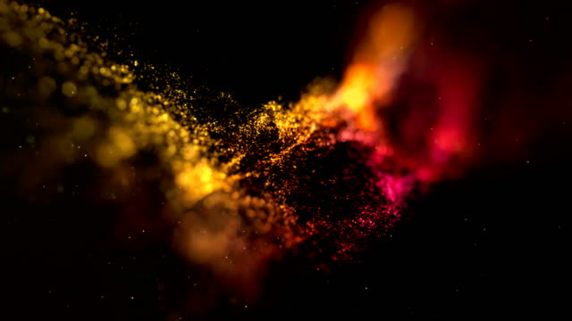 abstract animation stream array colorful glitter sparkle yellow, orange lines with particles on black background science and research video
