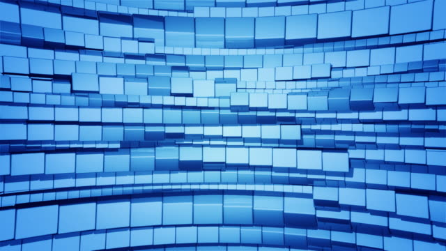 Abstract background of blue cubes rotating video