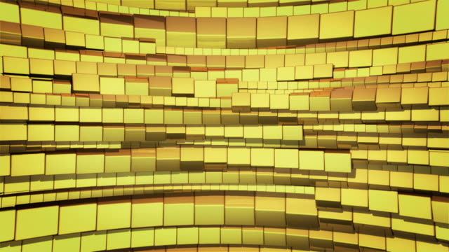 Abstract background of gold cubes rotating video