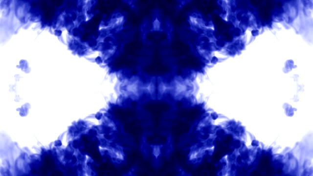Abstract background of ink or smoke flows is kaleidoscope or Rorschach inkblot test9. Isolated on white in slow motion. Blue Ink dissolves in water. For alpha channel use luma matte as alpha mask video