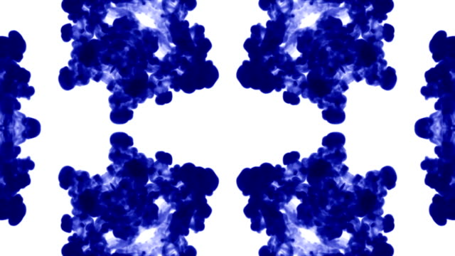 Abstract background of ink or smoke flows is kaleidoscope or Rorschach inkblot test5. Isolated on white in slow motion. Blue Ink curls in water. For alpha channel use luma matte as alpha mask video