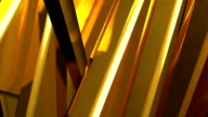 Abstract background of rotation gold steel boxes with reflecting video