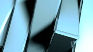 Abstract background of rotation steel boxes with reflecting video
